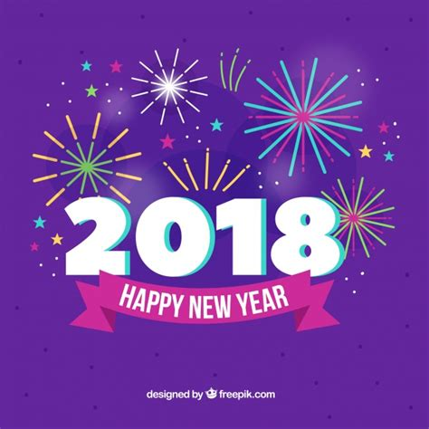 new year 2018 vector fireworks new year 2018 background in purple vector free