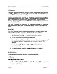 Access Policy Template by Standard Access Policy Template Free