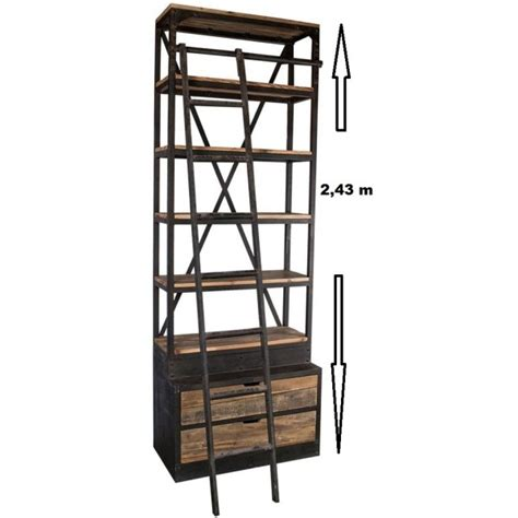etagere 1 m biblioth 232 que 233 tag 232 re bois recycl 233 5 tablettes 2 tiroirs 1