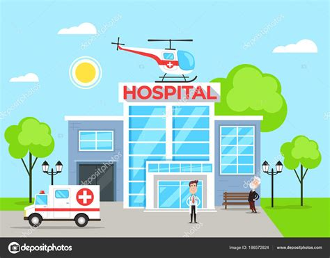 imagenes animadas hospital edificio concepto con car 225 cter m 233 dico del hospital