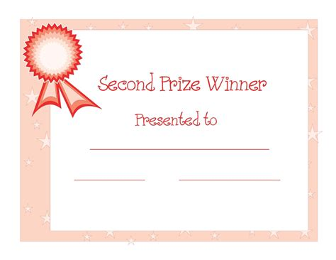 blank 2nd place winner certificate template apa templates