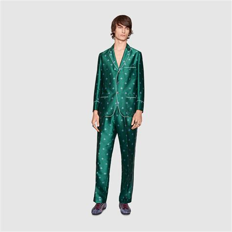 lyst gucci bee jacquard pajama pant in green for