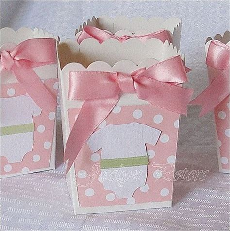 Popcorn Holders For Baby Shower by Baby Shower Popcorn Favor Box Pink Dots Onesie