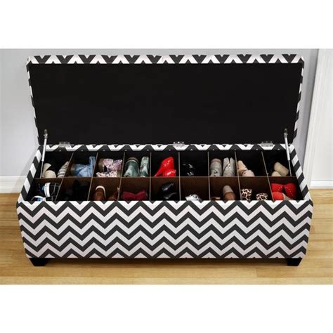 black and white storage bench the sole secret shoe storage bench zig zag black and