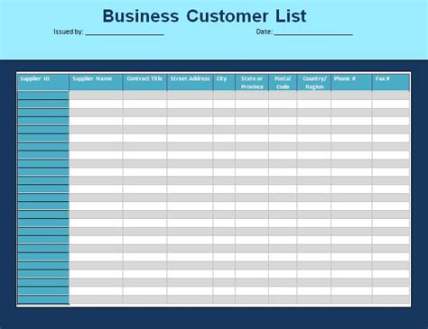 Customer Template customer list template formsword word templates