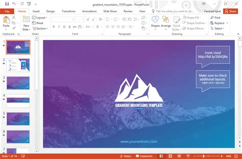 template animasi gradient pegunungan powerpoint
