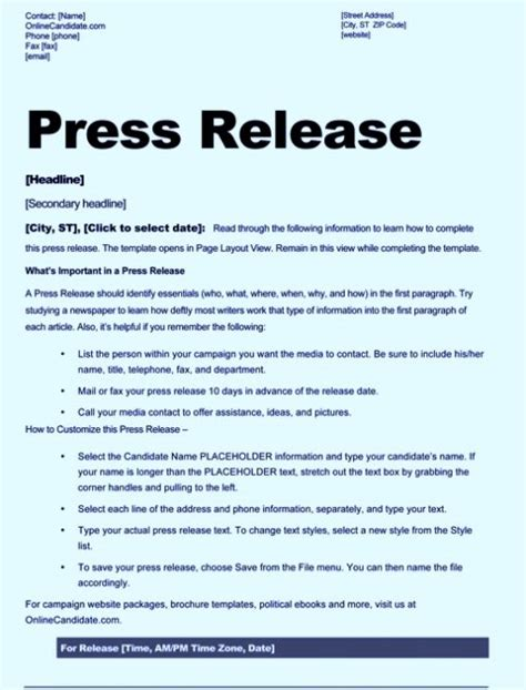 Free Sle Press Release Template Word Real Estate Press Release Template