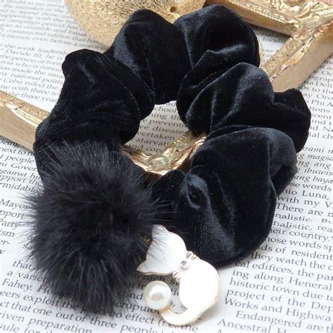 Black Furball Bag Charm nekonote black velvet white cat with pearl