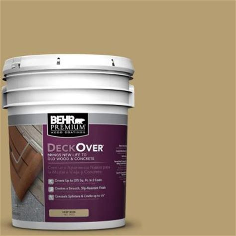 behr premium deckover 5 gal sc 145 desert sand wood and concrete coating 500005 the home depot