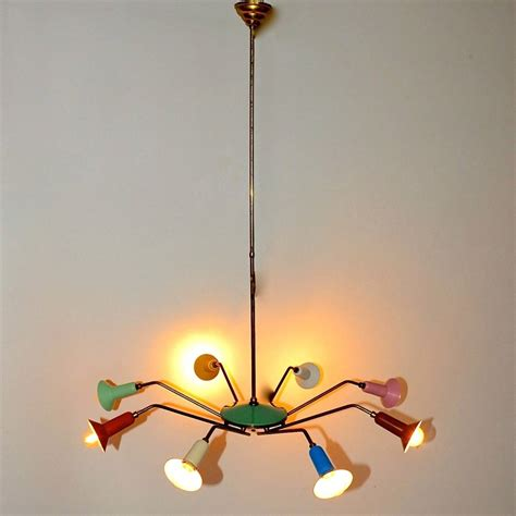 Colorful Chandelier 1950s Italian Colorful Spider Chandelier At 1stdibs