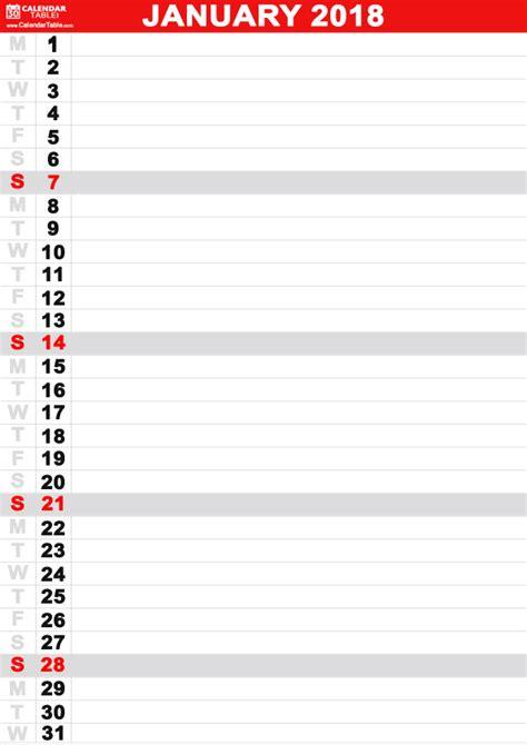 printable january calendar calendar table