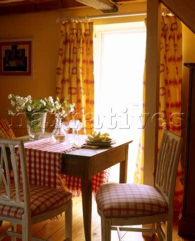 Country Dining Room Curtains Ac060 12 A Country Dining Room Yellow Pattern Curta Narratives Photo Agency