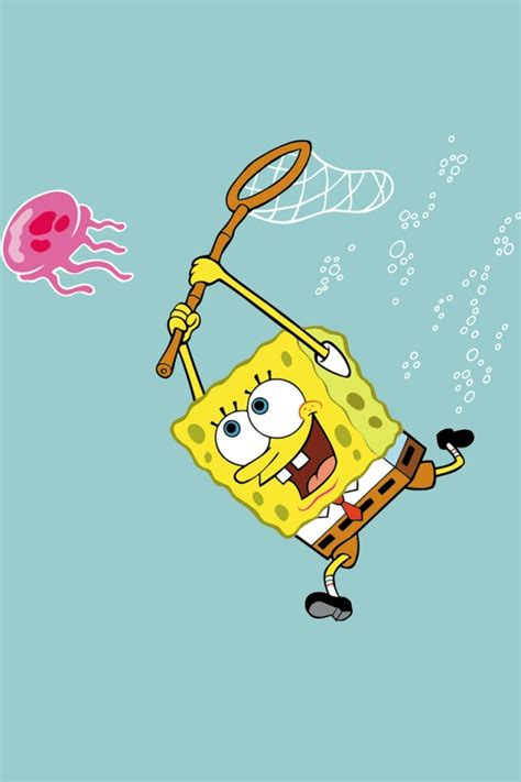 wallpaper android spongebob spongebob catching jellyfish android wallpaper