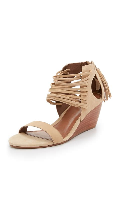 light brown wedge heels matiko bryn strappy wedge sandals in brown lyst
