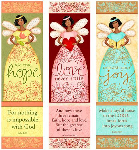 free printable angel bookmarks dark skin angel trio bookmarks love hope joy