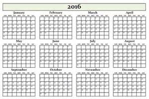 Annual Calendar Annual Calendar 2016