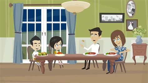 cartoon dining room cartoon animation people with dark skin a family with