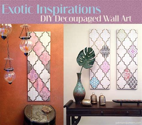 How To Decoupage With Scrapbook Paper - diy decoupage wall using scrapbook paper and stencils