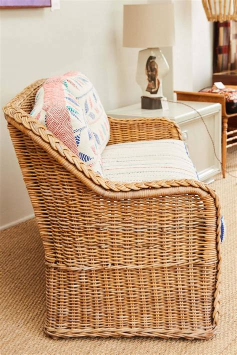 vintage wicker loveseat wicker loveseat with vintage indian textile upholstery at
