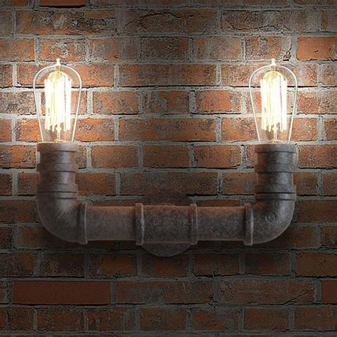 Rustic Wall L by 2 Duo Water Pipe Rustic Wall Light Sconce Tudoco