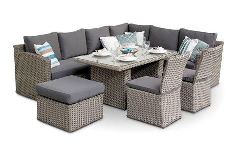 chelsea rattan sofa corner dining set with dining chairs grey