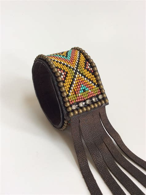 beaded cuffs beaded leather cuff bracelet with fringe boho bracelet
