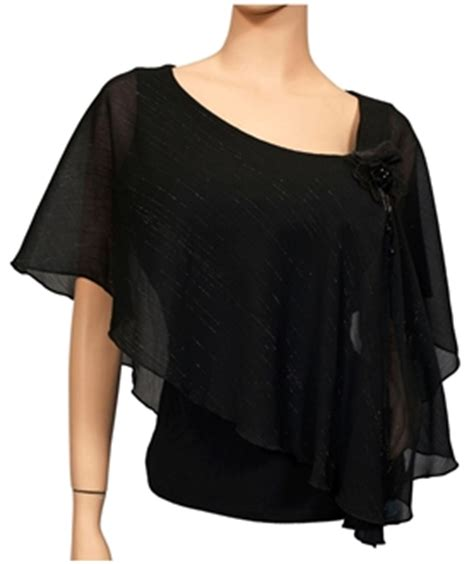 Pied Piper Blk poncho blouse plus size collar blouses