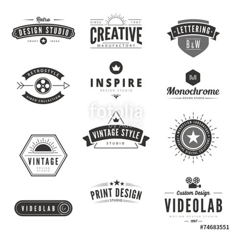 logo design white label quot vintage retro logos labels vector typography logo quot stock