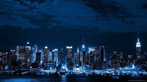 blue nyc blue cityscapes lights new york city cities neon wallpapers