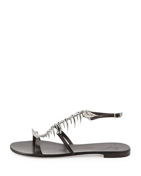 Jones Fish Sandals At Begdorf by Giuseppe Zanotti Fish Bone Flat Sandal Nero