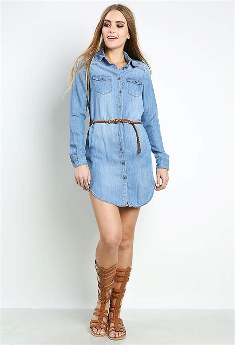 denim dress w belt shop dresses at papaya clothing