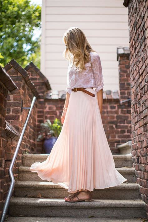 casual friday pleated blush maxi skirt