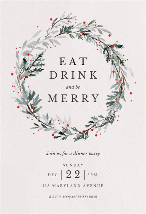 holiday wreath christmas invitation template