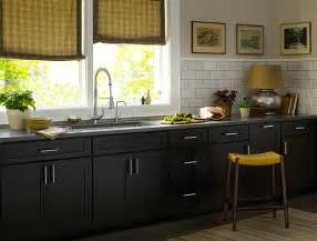 Dark Cabinet Kitchen by Black Kitchen Cabinets Dayton Door Style Cliqstudios