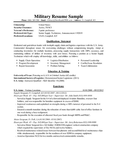 Army To Civilian Resume by Resume Resume Sle Resume