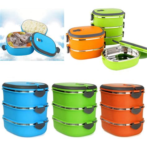 Lunch Box Three Layer new thermal insulated bento stainless steel food container lunch box 1 2 3 layer ebay