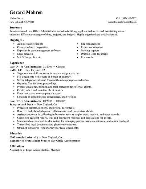 resume exles for office administration best office administrator resume exle livecareer