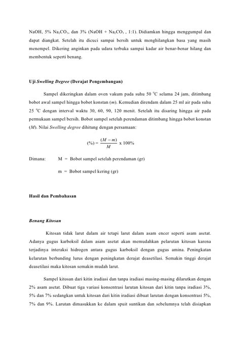 Ph Paper Suncare Cek Kadar Asam Basa 0 14 Tes Kertas Suncare karakterstik sifat swelling benang khitosan dari khitin