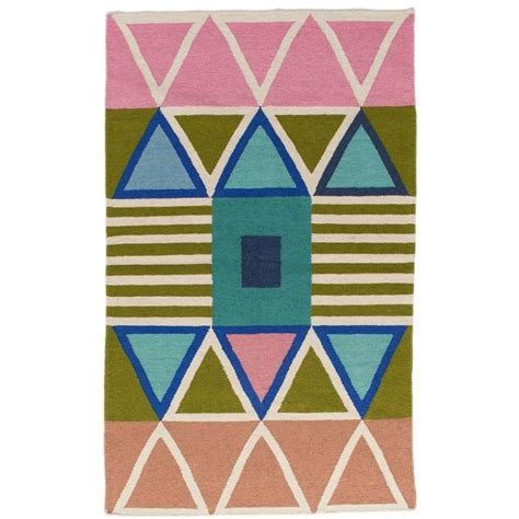 geometric dhurrie rug aelfie lounah modern dhurrie handwoven geometric colorful pink blue rug for sale at 1stdibs