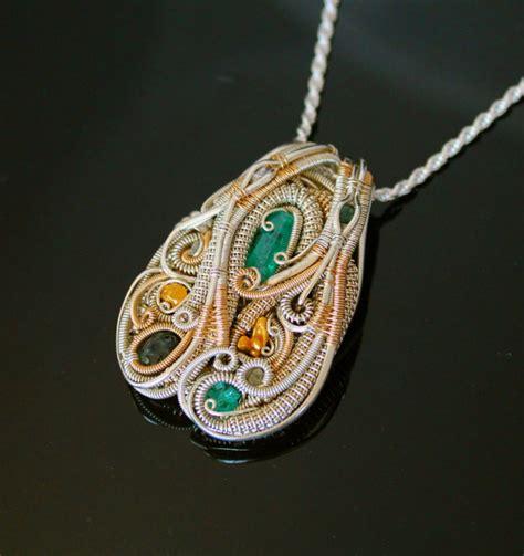 wrap jewelry heady wire wrapped pendant wrap jewelry handmade emerald