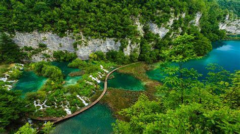 plitvice lakes national park ariel view croatia wallpaper