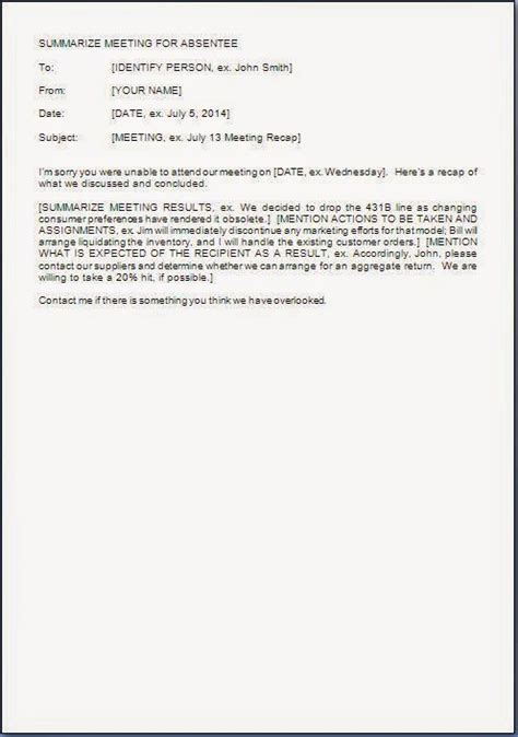 Letter Sinopsis Post Meeting Summary Letter