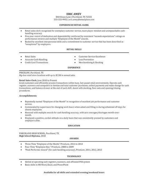 Sample Retail Clerk Resume