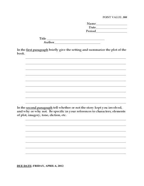 book report template grade 8th grade reading book report template free
