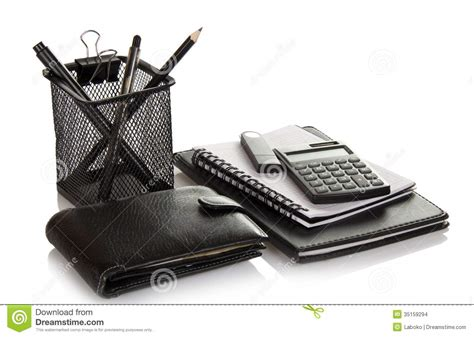 mens office desk accessories set of office accessories man s purse and flash stock