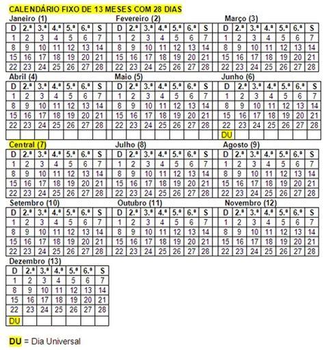 Calendario De 13 Meses Aprendendo Por A 237 Projeto De Calend 225 13 Meses De