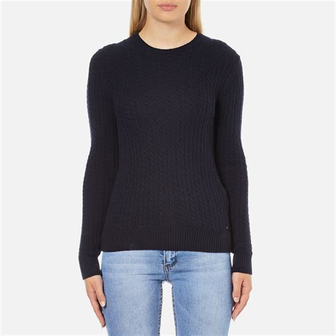 superdry s luxe mini cable knit jumper navy womens