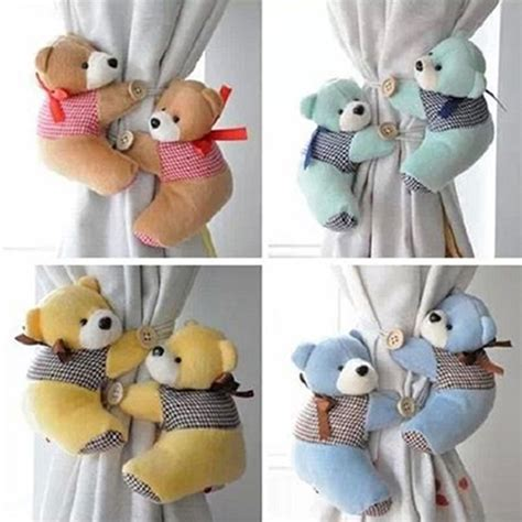 curtain tie back hooks children 1pair lovely furry bear children bedroom window curtain