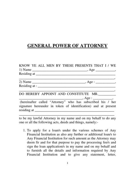 free poa template power of attorney form sle template calendar
