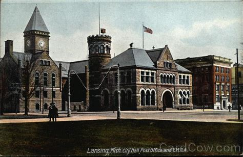 city post office and y m c a lansing mi postcard
